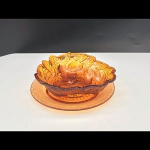 Carnival glass bowl and plate